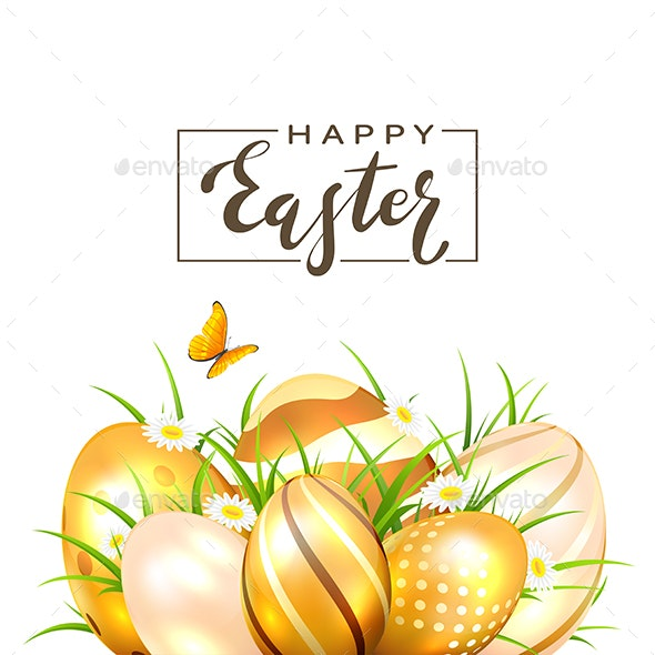 Golden Easter Eggs and Butterfly on White Background - Religion Conceptual
