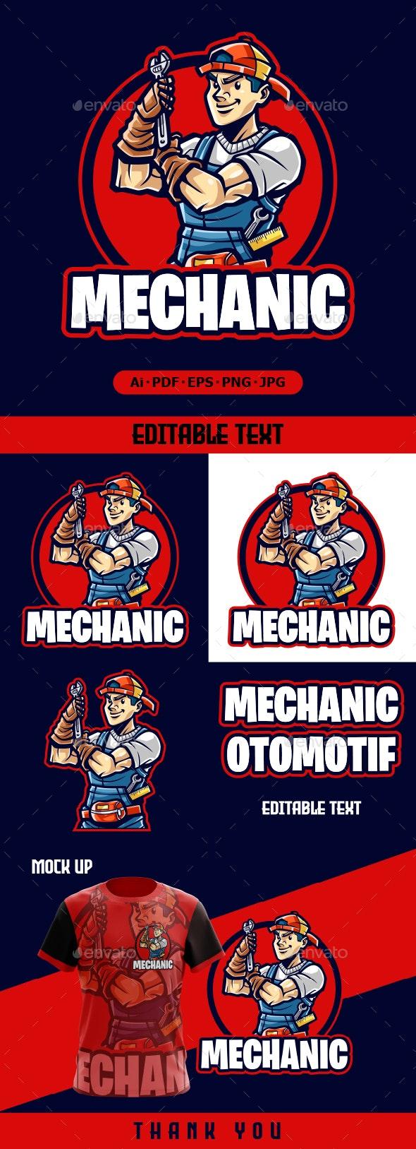 Mechanic Mascot cartoon logo - Humans Logo Templates