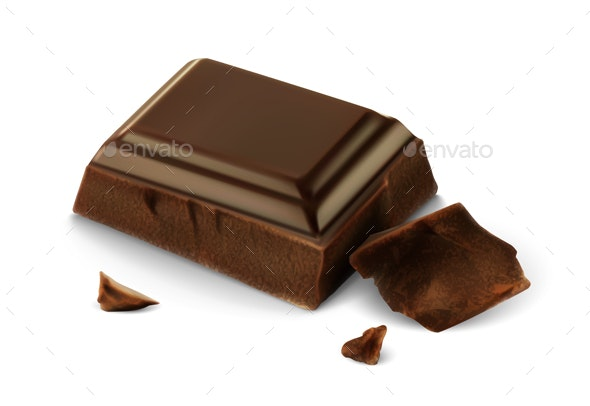 Vector realistic piece of chocolate - Food Objects