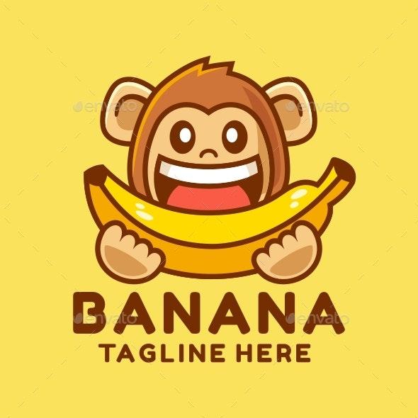 Happy Monkey Eating Banana - Animals Characters