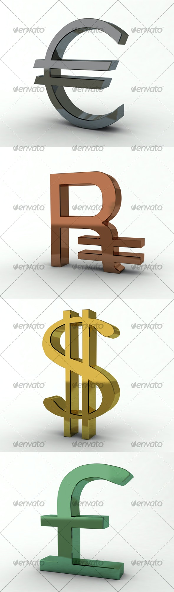 Dollar, Euro, Ruble and Pound Sterling - Objects 3D Renders