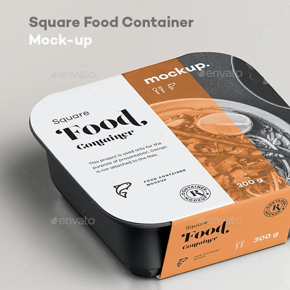 Square Food Container Mock-up