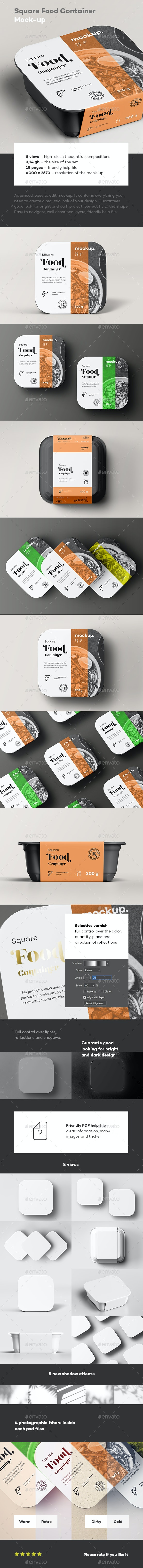 Square Food Container Mock-up - Food and Drink Packaging