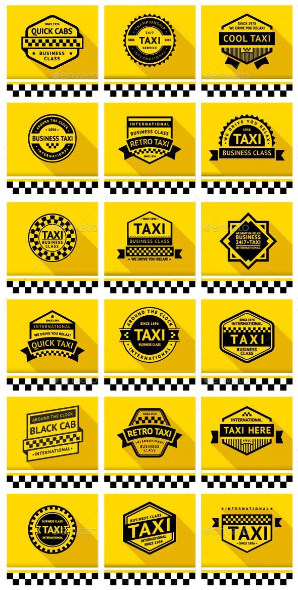 18 Taxi badges - Vectors