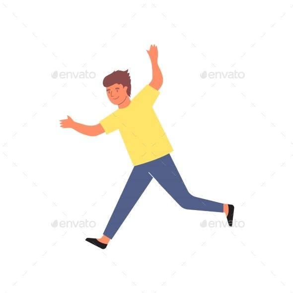 Running Kid Flat Composition