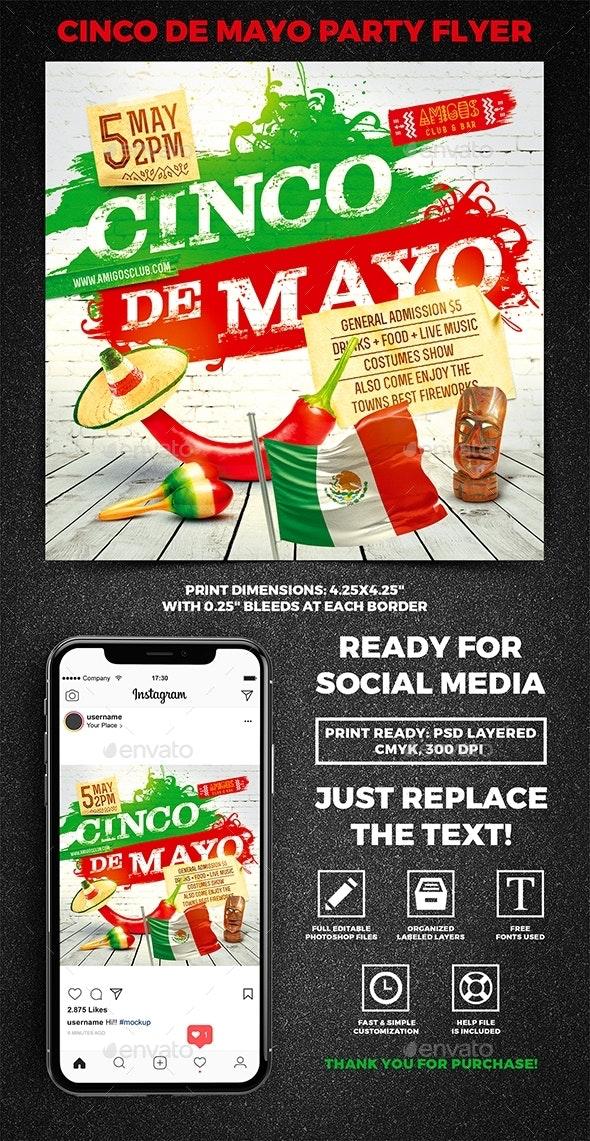 Cinco de Mayo Party Square Flyer vol.6 - Holidays Events