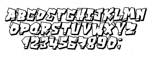 Vector Graffiti and Hip Hop Font 90s Style - Miscellaneous Vectors