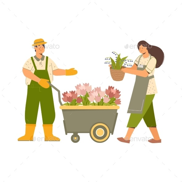 Florists With Trolley Composition - Flowers & Plants Nature