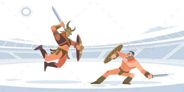 Spartan Warriors Fighting in Gladiators Arena - Sports/Activity Conceptual