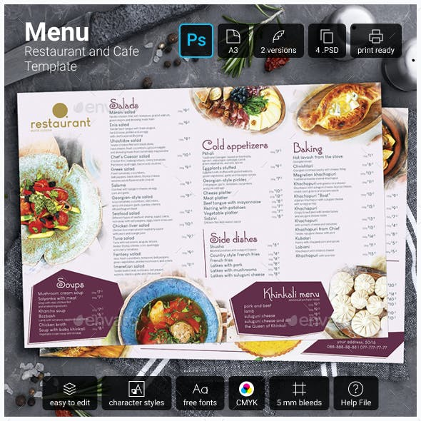 Menu Restaurant and Cafe A3. Template