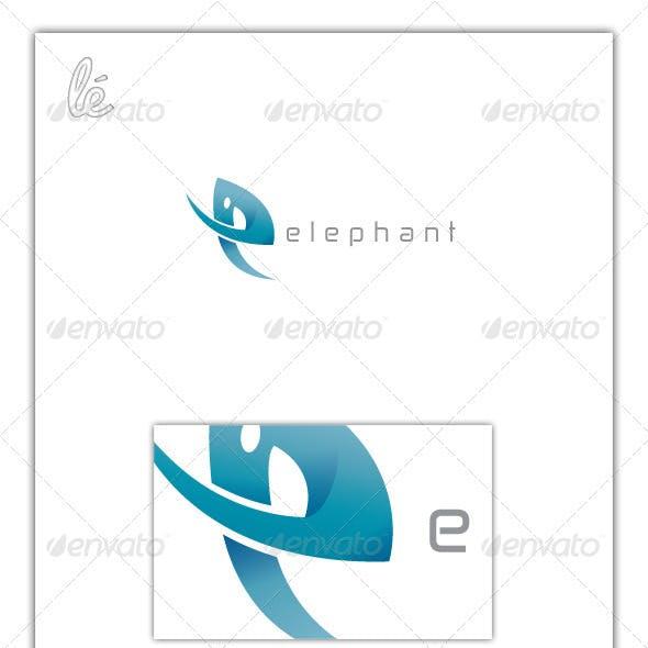 Letter E Logo - Elephant Logo - E Shaped Elephant