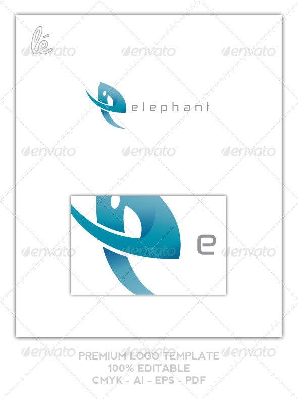 Letter E Logo - Elephant Logo - E Shaped Elephant - Letters Logo Templates