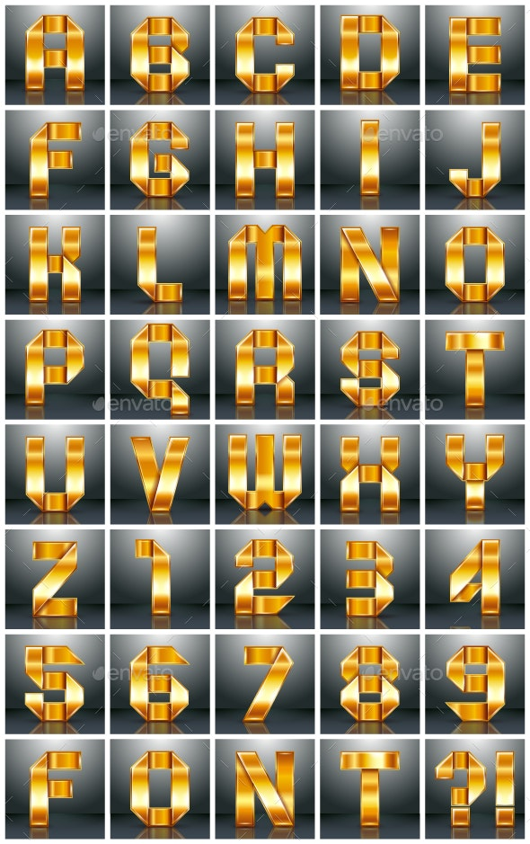 Alphabet Folded from a Metallic Gold Ribbon - Vectors