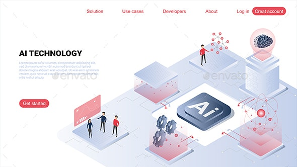 Artificial Intelligence Landing Page - Web Elements Vectors