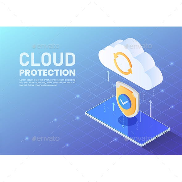 Isometric Shield Protecting Data Tranfer From Smartphone to Cloud