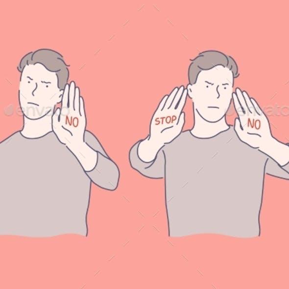 Stop Sign Refusal Sign Anger Set Concept