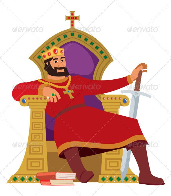 Happy King On White - People Characters