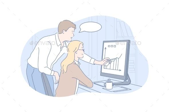Business Communication Teamwork Speech Bubble - People Illustrations