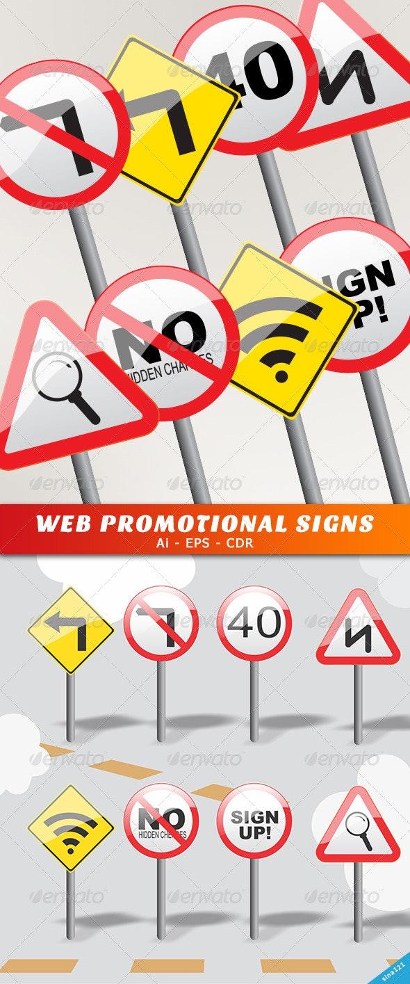 Web Promotional Signs  - Web Elements Vectors