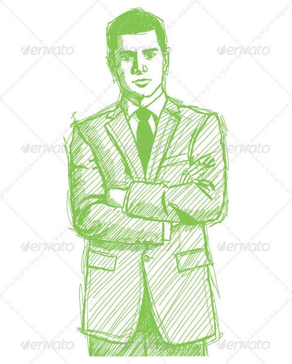 Sketch Man Businessman In Suit - People Characters