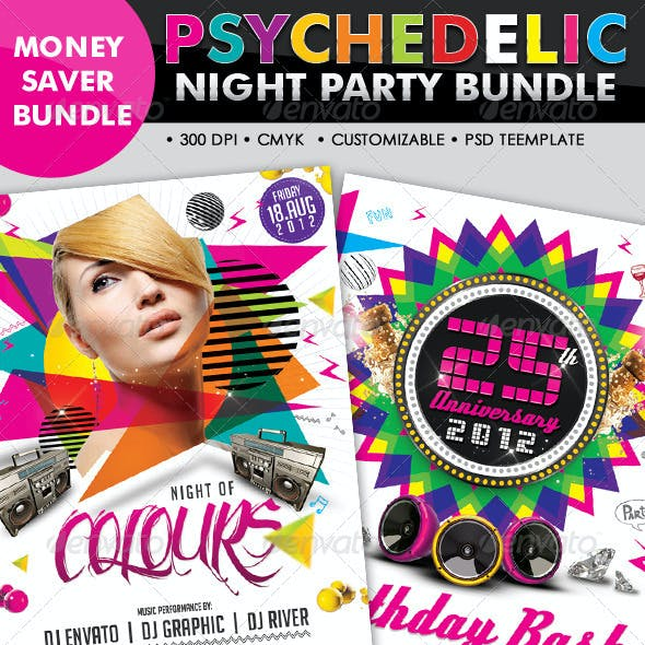 Psychedelic Club/Night Party Flyer Bundle #08