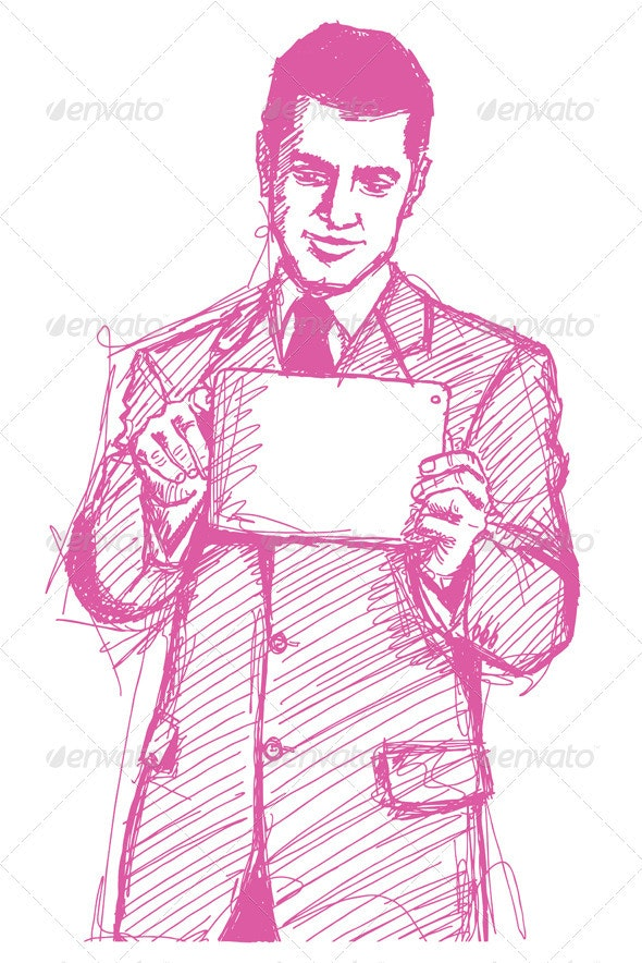 Sketch Businessman With Touch Pad - People Characters
