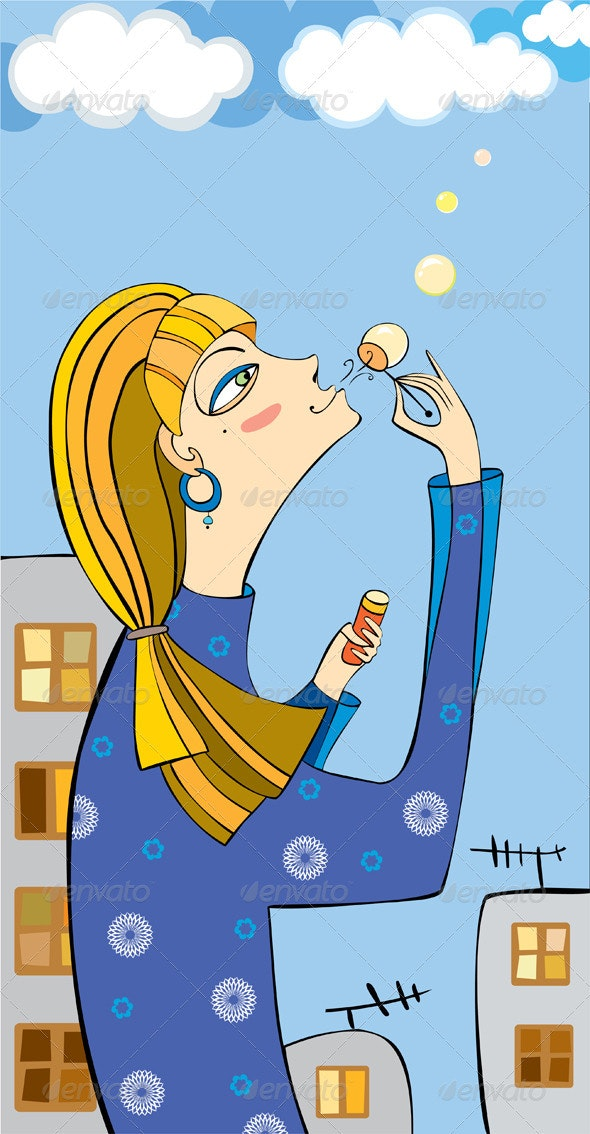 Girl Town Soap Bubbles - People Characters