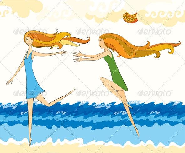 Girls Run Beach Sea - People Characters