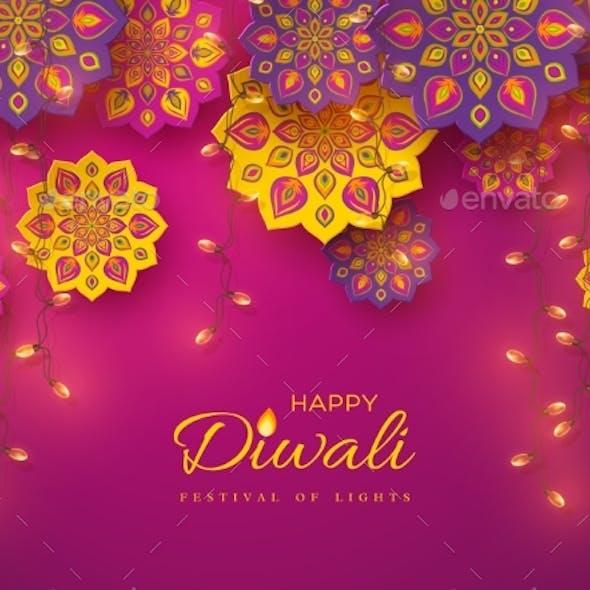 Diwali Festival Holiday Design with Rangoli