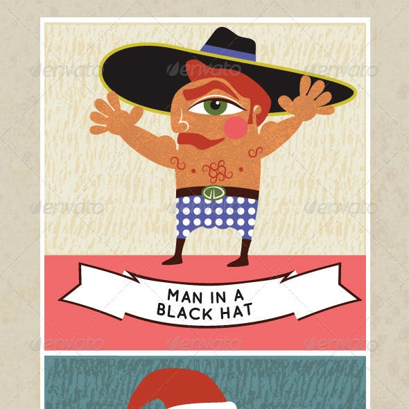 Men in Hats, 3 Quirky Retro Style Cartoons