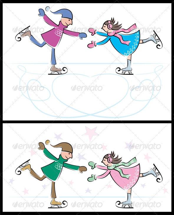 Ice-Skating Couple - Characters Vectors