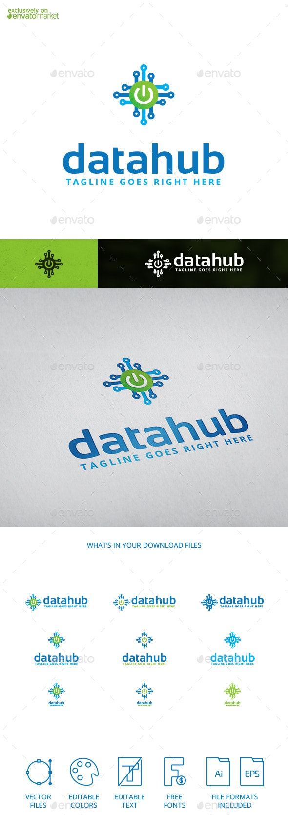 Datahub Digital Data Software Logo Template - Abstract Logo Templates
