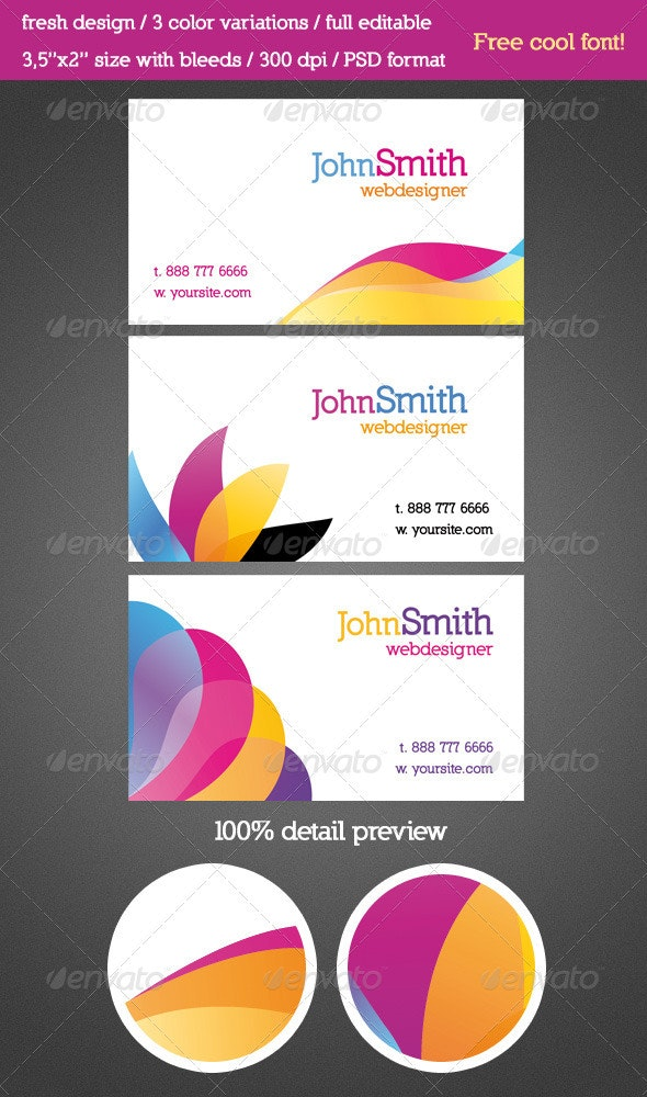 3 Fresh Design Business Cards - Corporate Business Cards