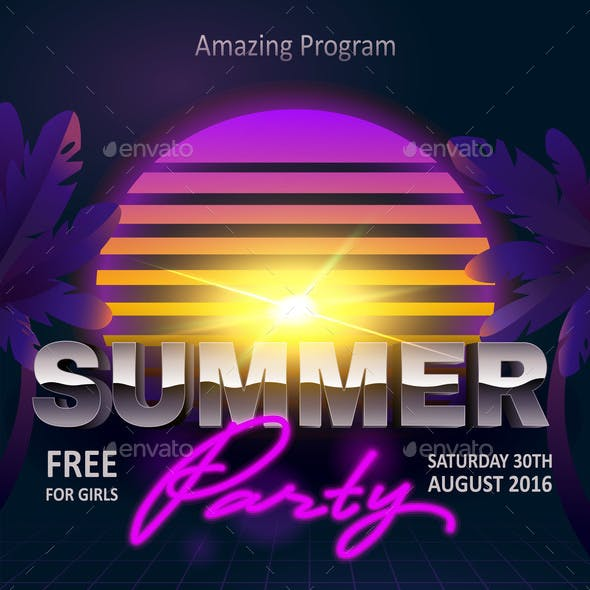 Summer Beach Party Poster Invitation