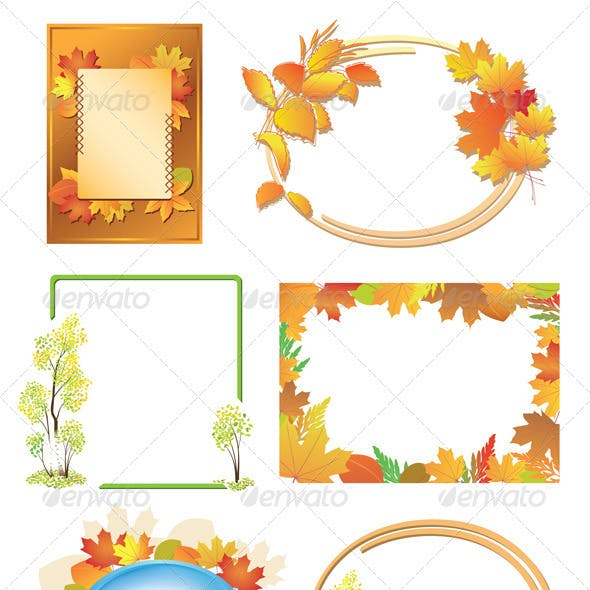 Autumn Frames with Red and Yellow Leaves