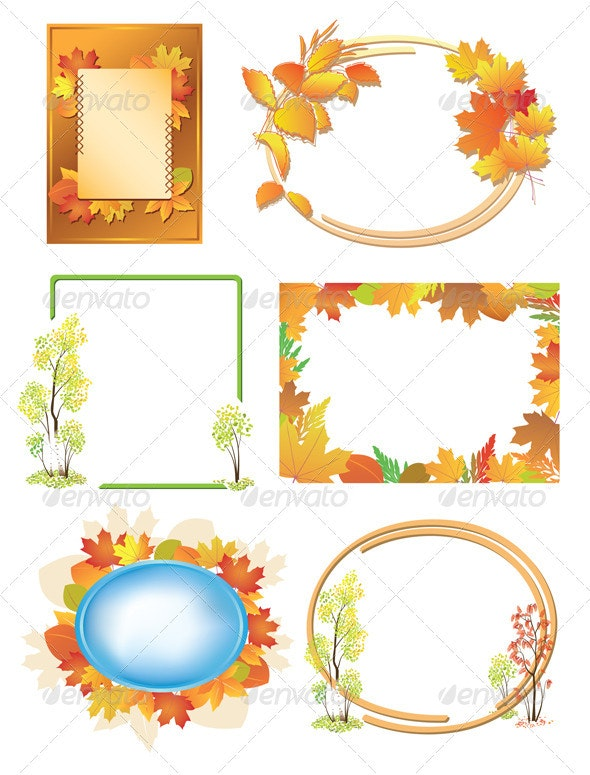 Autumn Frames with Red and Yellow Leaves - Borders Decorative