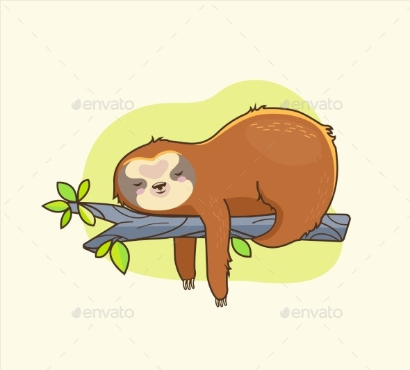 Funny Colorful Sloth Sleeps on the Branch - Animals Characters