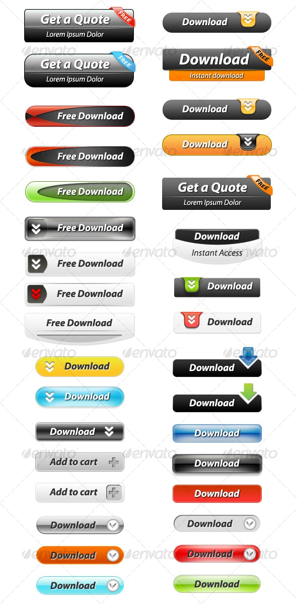 33 Layered Web Buttons - Buttons Web Elements