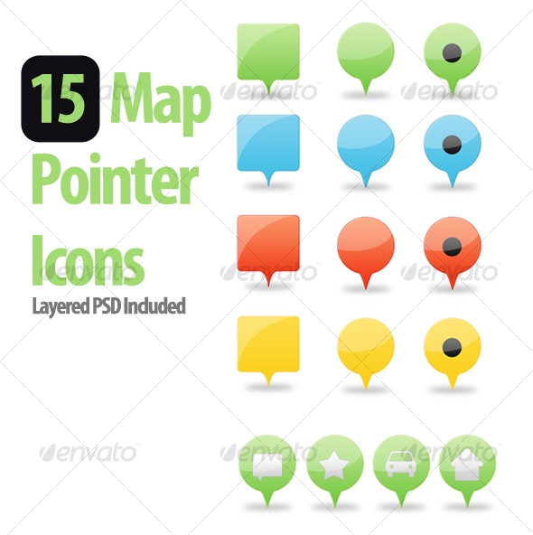 Web 2.0 Map Pointers - Web Icons