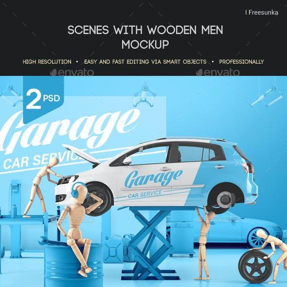 Scenes With Wooden Men Mockup