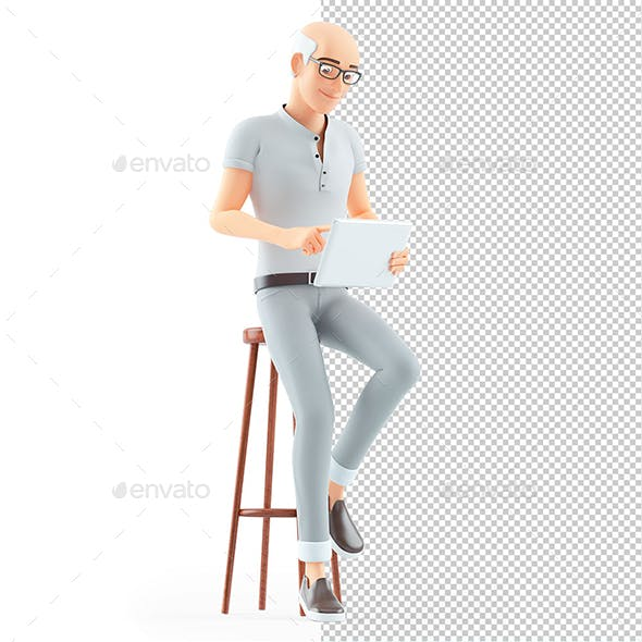3D Senior Man Sitting on Stool with Tablet