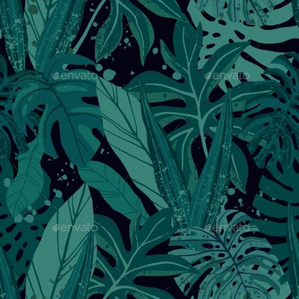 Seamless Tropical Pattern with Exotic Palm Leaves