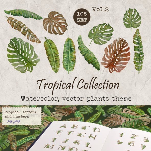 Set of Tropical Plant Elements Patterns and Letters Watercolour Volume 2