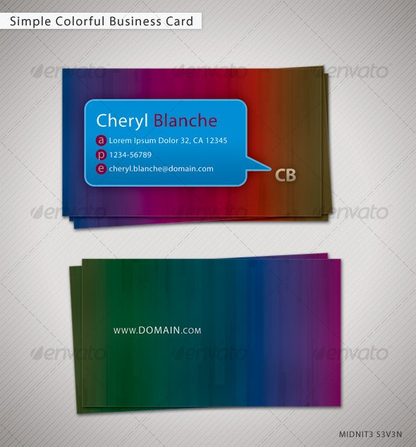 Simple Colorful Business Card - Creative Business Cards