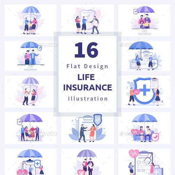 16 Life Insurance Flat Design Illustration