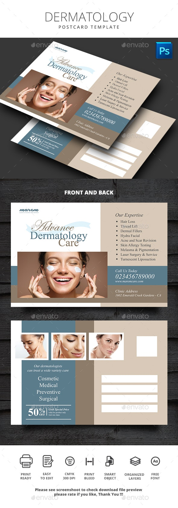 Dermatology Postcard - Cards & Invites Print Templates