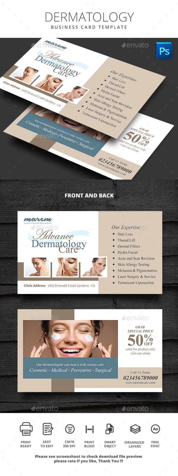 Dermatology Business Card - Business Cards Print Templates