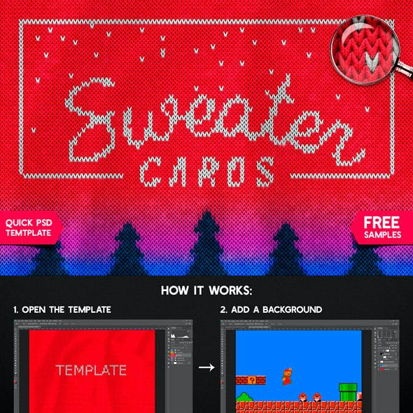 Christmas Sweater Template For Adobe Photoshop