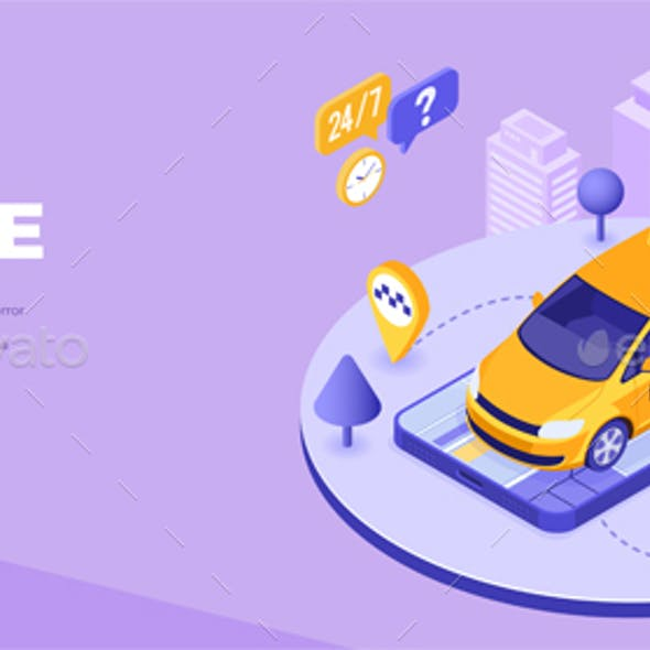 Online technology order taxi isometric