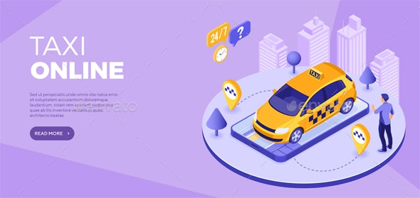 Online technology order taxi isometric - Web Technology